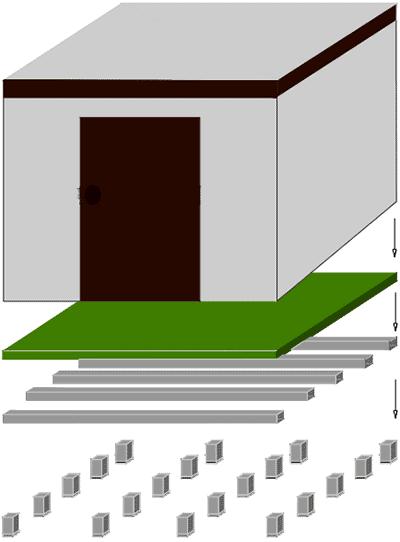 Dibujo del esquema de montaje de trasteros prefabricados