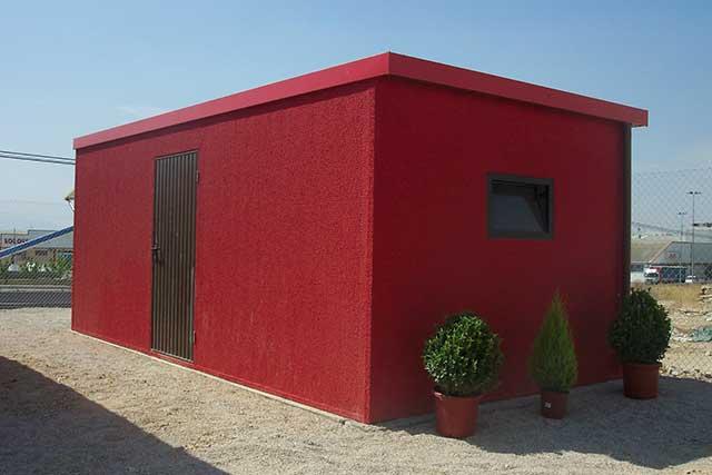 garaje prefabricado con puerta trasera
